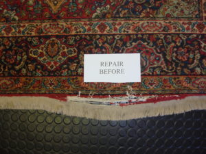 Rug Fringe Repair Before photo