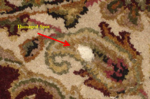Area rug damage - hole in rug