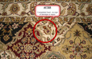 hole repair in area rug by Ace Rug Cleaning Raleigh NC